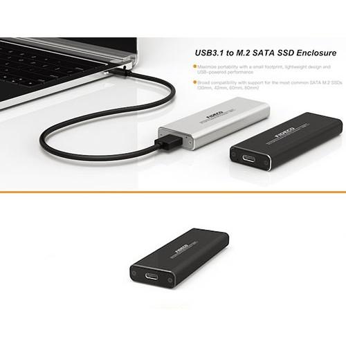 USB 3.1 to M.2 SATA SSD Enclosure Case