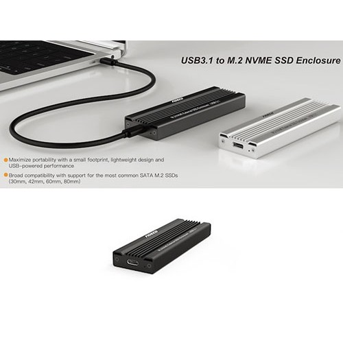 USB 3.1 to M.2 NVME SSD Enclosure Case
